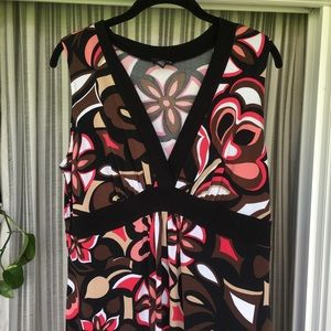 Retro inspired pink and brown maxi dress
